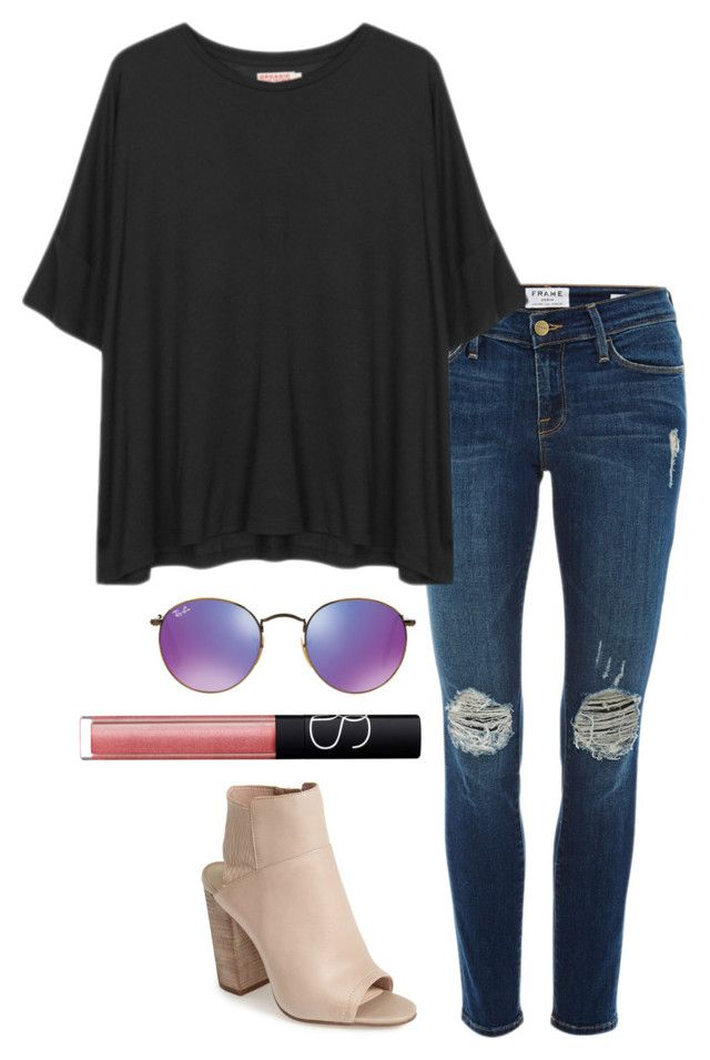 """oversized tee"" by helenhudson1 ❤ liked on Polyvore featuring Frame Denim, Organic by John Patrick, Ray-Ban, NARS Cosmetics and Dolce Vita"