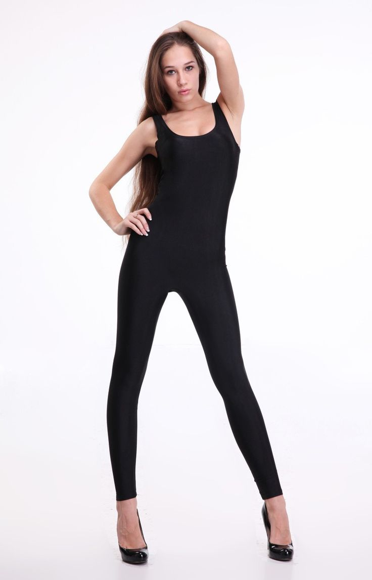 Echoine New Dark Black Catsuit For Women Sleeveless Long Length Slim Soft Bodysuit Tank Jumpsuit