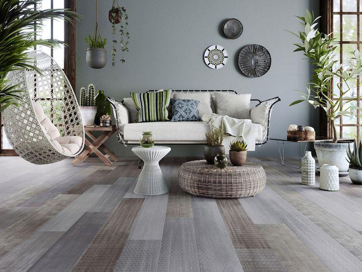 Interieurinspiratie: pvc vloeren met dessin Mystical waarbij hout en textiel zijn verweven. Expressive Floors uit de Impress collectie van Moduleo #vloeren #pvcvloer #moduleo #interieur #houtenvloer