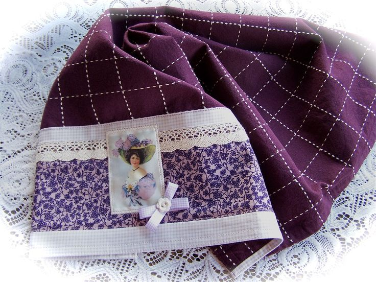 https://flic.kr/p/e2PQaz | Purple and white tea towel | Another Chic embellished towel created by Cath. A vintage inspired tea towel in purple, cream and white. A beautifully decorated kitchen towel.