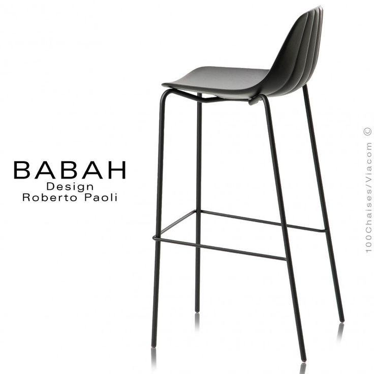 tabouret de bar design babah 80 pieds acier peint noir assise coque plastique noir - Pied Table De Bar