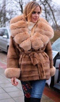 NEW SAGA MINK FUR LONG JACKET GOLD FOX CLASS- RUSSIAN SABLE CHINCHILLA COAT VEST