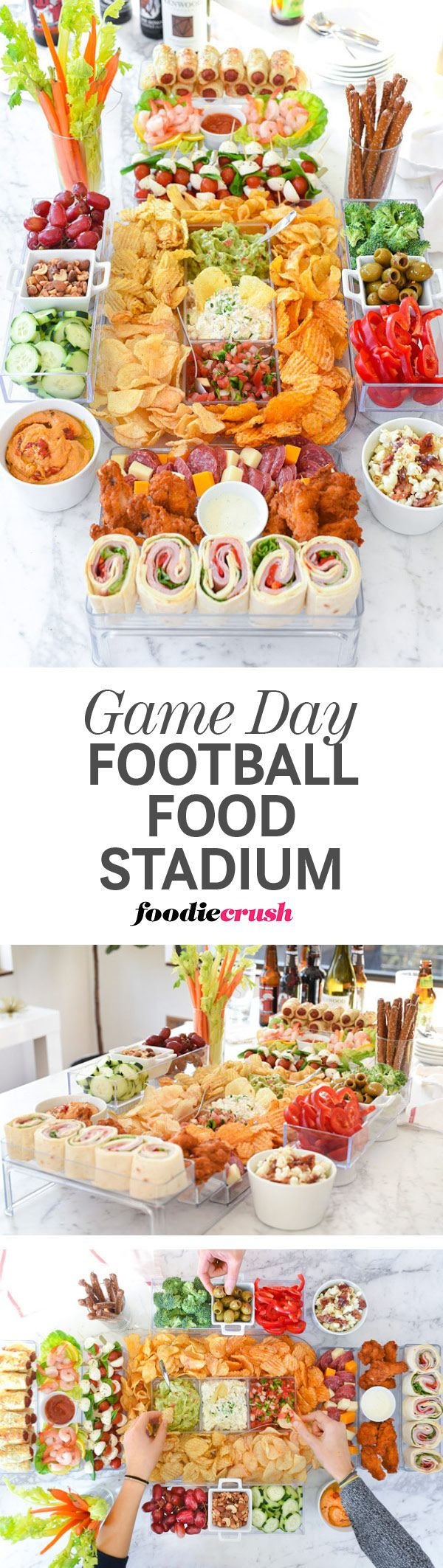 How to Build a Game Day Football Food Stadium and 20 Recipe Ideas to Fill It With | foodiecrush.com