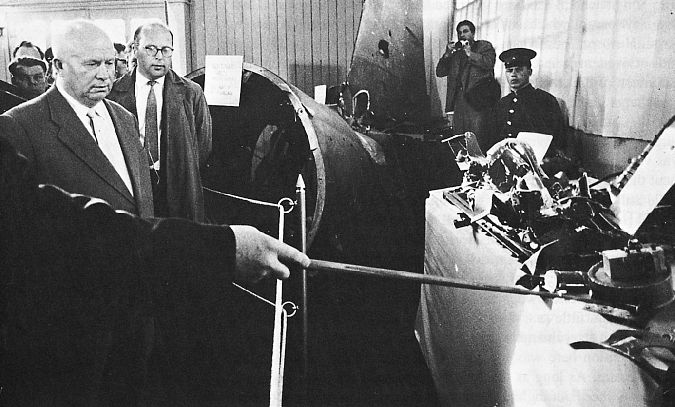 1960: Soviet ground-to-air missiles shoot down a US supersonic U-2 spy plane on May 1. The Russians capture CIA pilot Francis Gary Powers. Soviet leader Khrushchev and wreckage from the U-2 shoot-down.