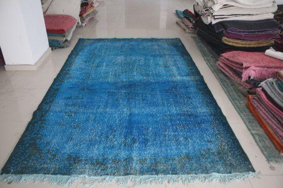 Overdyed Rug Blue Rug Overdyed Carpet by AnatolianSpindle on Etsy