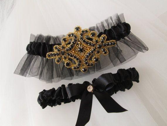 Black Gold Wedding Garter Set Roaring 20s Prom Garters Vintage And