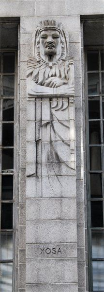 Tribal figure on the Mutual Building, Darling Street Cape Town - design attributed to Ivan Mitford-Barberton, execution attributed to Adolfo Lorenzi. Photo attributed to AndyB