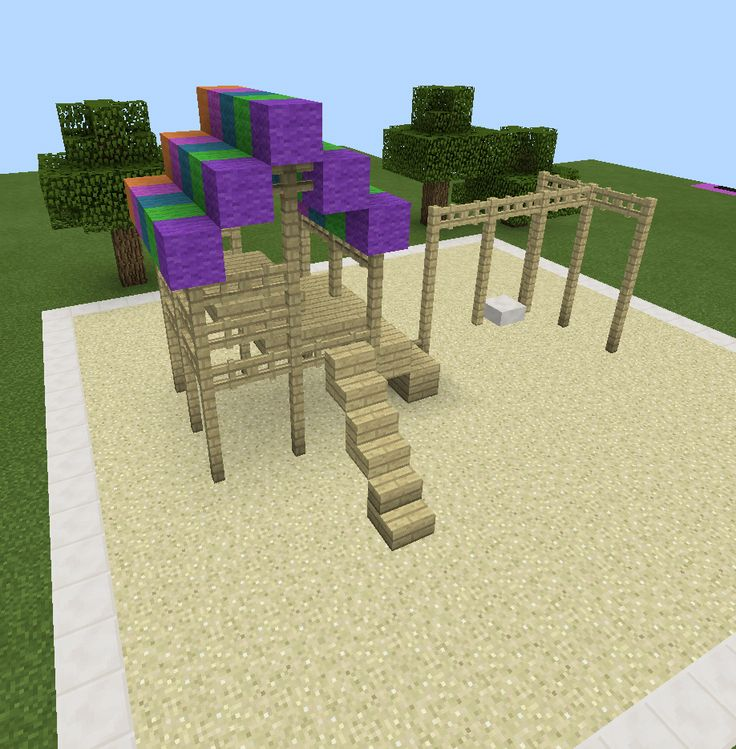 Minecraft Rainbow Playground Swing Set Wood Minecraft Creations Pinterest Playground
