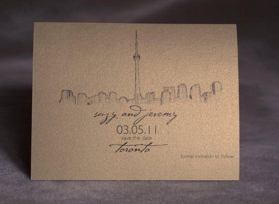 Toronto Skyline  Wedding Save the Date  Metallic by ericksondesign