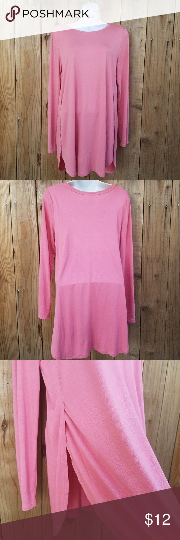 Rose pink long sleeve top Long rose pink long sleeve top with side slits. I took the tags off but never wore. Old Navy Tops Tees - Long Sleeve