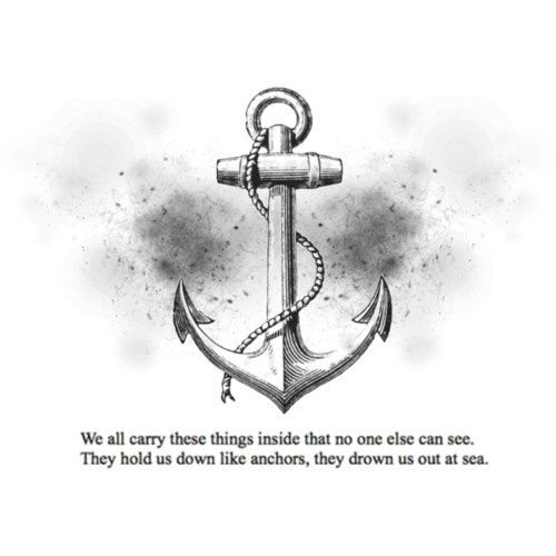 Awesome Grey Ink Anchor Tattoo design
