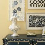 I love the framed fabric pieces Martha O'Hara Interiors - entrances/foyers - vignette, yellow, walls, blue, yellow, painted, chest, framed, fabric, art,  Gorgeous, gorgeous