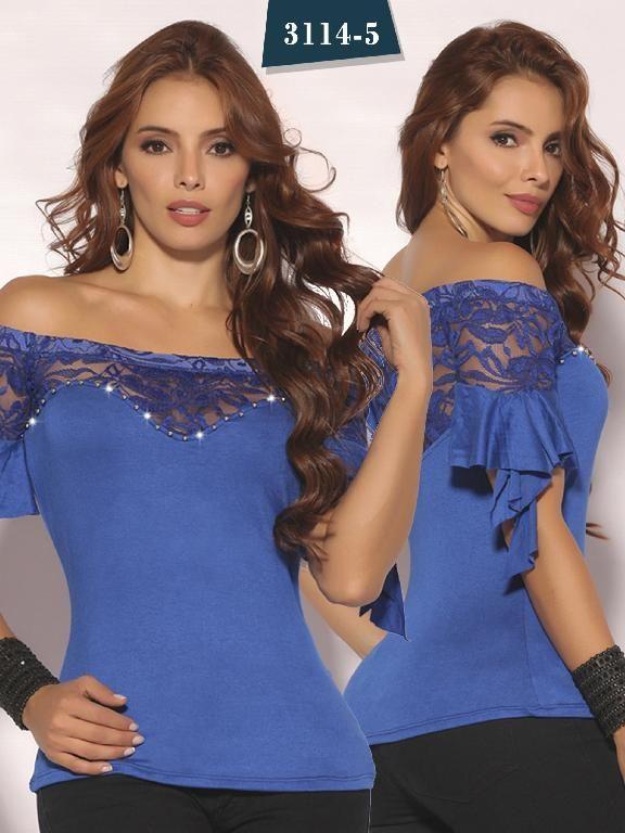 75c2fcdbc Blusa Moda Colombiana Cereza - Ref. 111 -3114-5 Azul