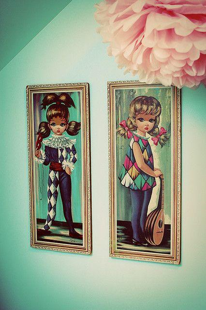 Deze schilderijtjes had ik op mijn slaapkamer hangen..