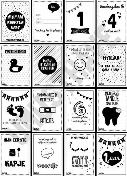 Baby mijlpaal kaarten