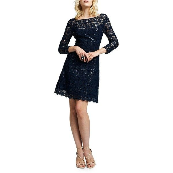 Kay Unger Women's Sequined Cocktail Dress (205 CAD) ❤ liked on Polyvore featuring dresses, navy, sequin cocktail dresses, lace dress, navy blue lace dress, blue cocktail dress and navy lace cocktail dress