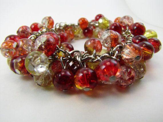 Candy Apple Red Beadburst Bracelet by BranchingHope on Etsy