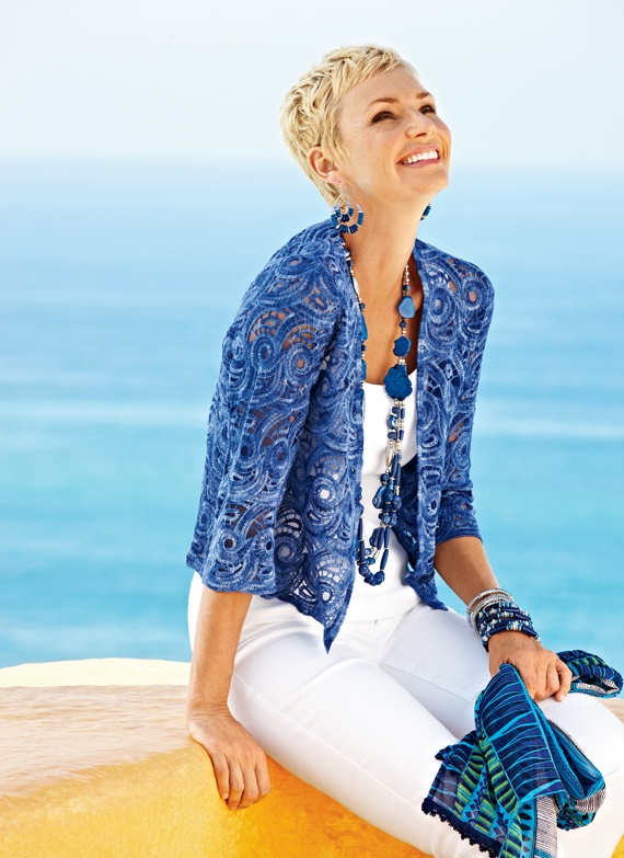 Perfect coverup for an air conditioned space or a cool evening in Greece. Openwork Cardi #chicos