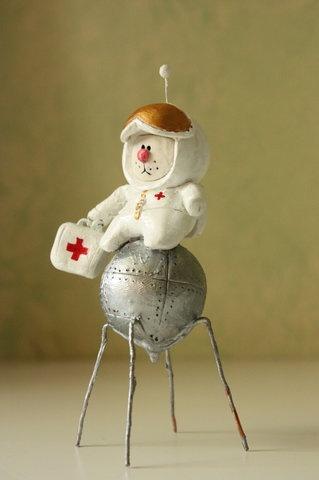 Кот-космонавт из полимерной глины