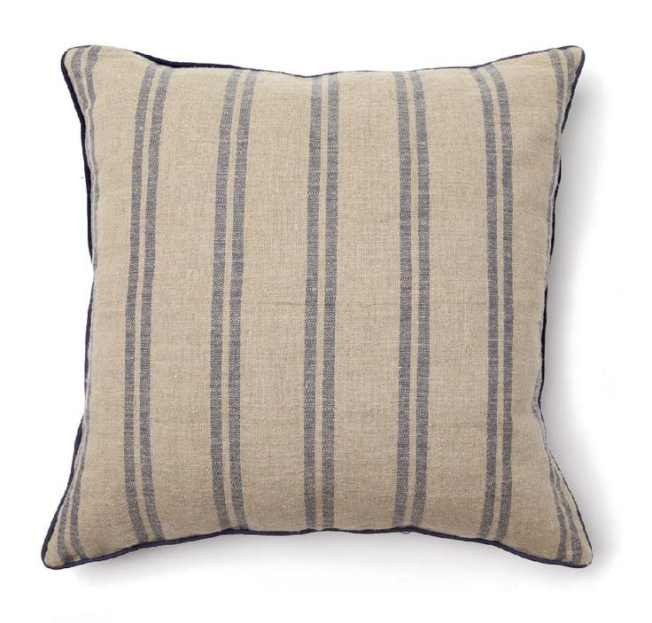Villa Home Full Bloom Pillow in Rustic Natural / Navy Stripe