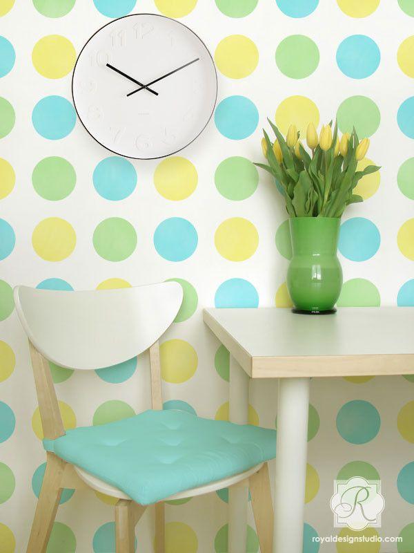 Modern Graphic Polka Dot Wall Stencil | Dot Dot Dot Polka Dot Stencil | Royal Design Studio