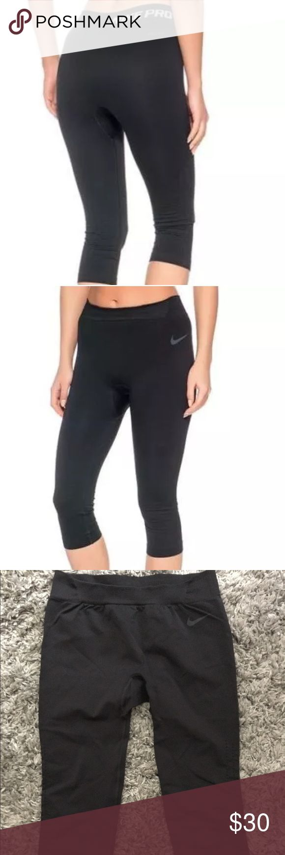 Nike Pro hypercool limitless seamless capris Sz S Nike Pro hypercool limitless seamless capris leggings Sz S in Black. Worn one time! Like New!                                                     SEAMLESS COMFORT The smooth, body-hugging fit and ventilated support of the Nike Pro Hypercool Limitless Women's Training Capri make these a go-to base layer for the gym. Nike Pants Capris