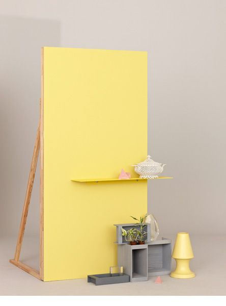 Faux wall idea for behind a craft fair table or in a craft fair booth. Adds shelf space, clean background and branding (use your brand's colors for the wall)