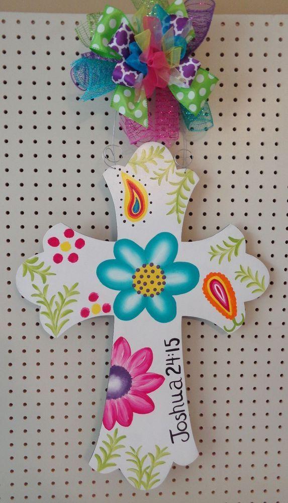 Handpainted  Wood Door Hanger Cross with Scripture Flowers Paisley #Handmade