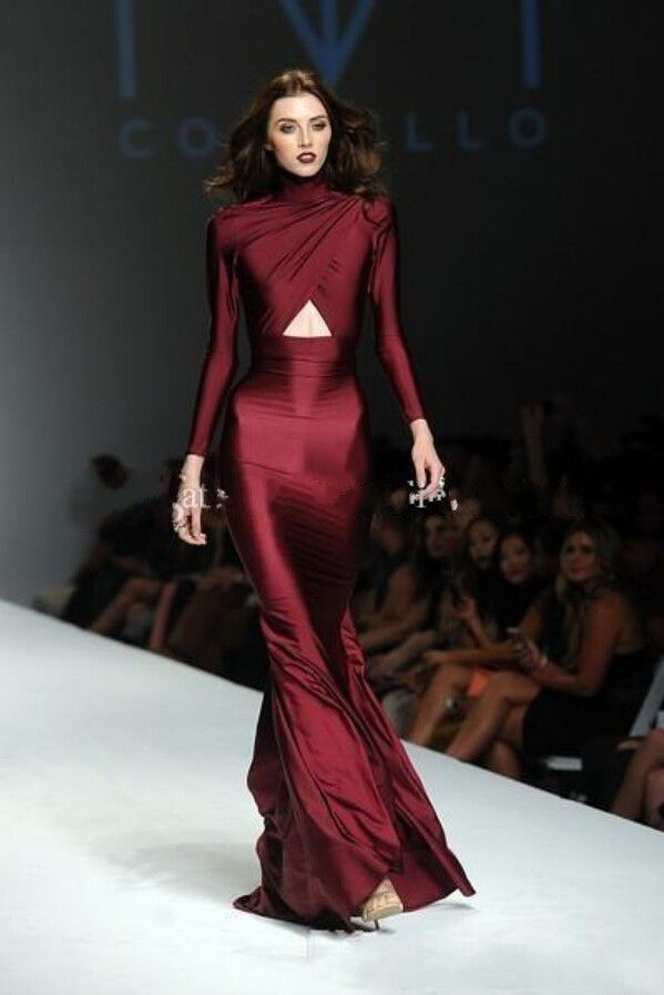 Mermaid 2015 Michael Costello Sexy Mermaid High Neck Criss-cross Long Sleeves Burgundy Formal Party Celebrity Dresses