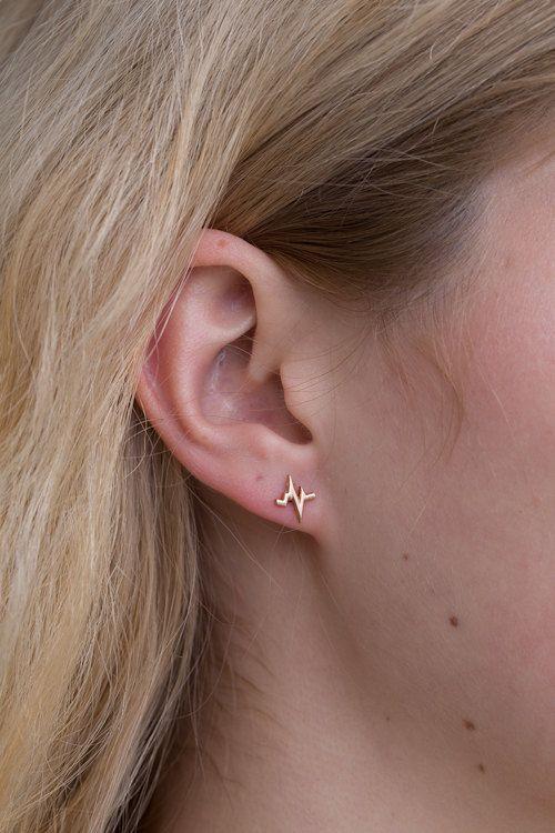 Charming EKG Beat Earrings  Black Rhodium Plated by MFJewelry, $115.00