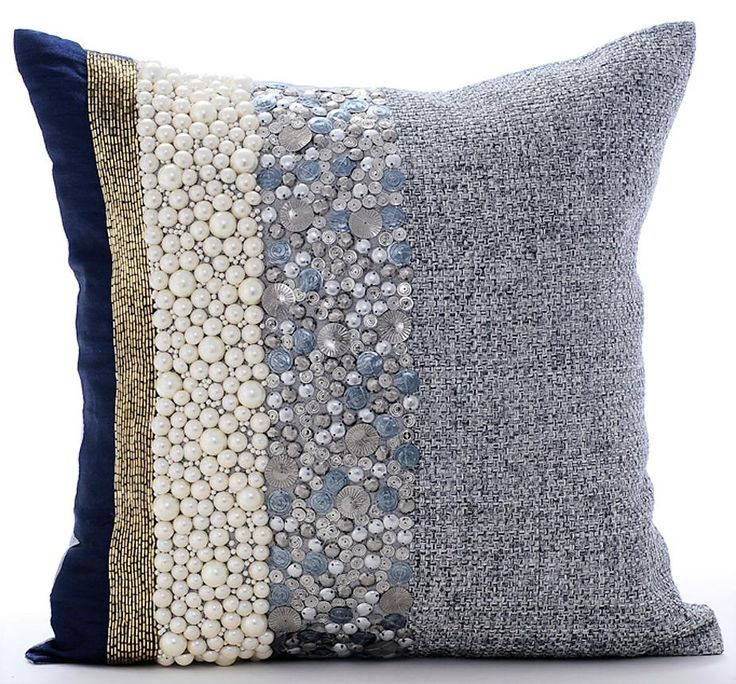 "Navy Blue And Silver Cushion Covers, 16""x16"" Silk And Jute Pillow Covers, Square Pearl Beads And 3D Sequins Pillows Cover - Navy Pearlized by TheHomeCentric on Etsy"