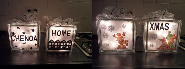glassblock lights  -- glazen badkamer blokken gevuld