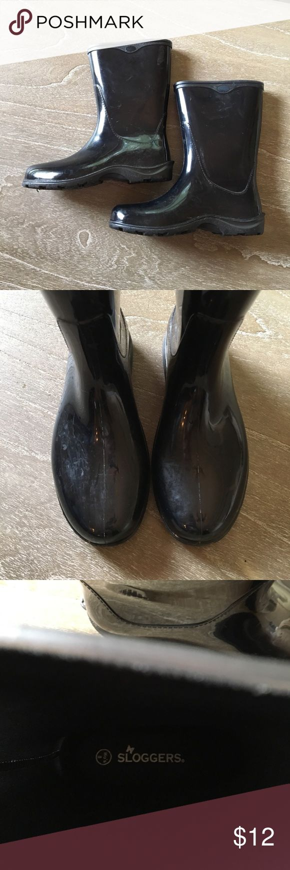 Sloggers Rain Boots Black Sloggers rain boots in size women's 8-9. Only worn one weekend and in excellent condition. Tread like new. Note some slight marks on outer boot which don't effect functionality. sloggers Shoes Winter & Rain Boots