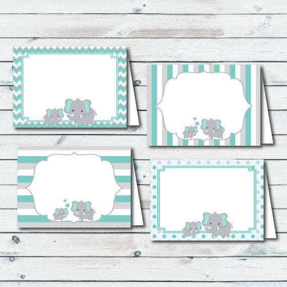 Printable Elephant Food Labels Place Cards Food Tent Cards