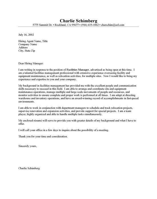 Facilities Manager Cover Letter Sample Cover Letters Sample Resume Cover Letter Cover