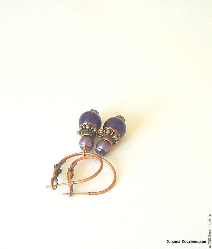 """Купить Серьги-кольца """"Ежевичные"""" - тёмно-фиолетовый, ежевика, ягодный, фиолетовый, фиолетовые серьги, сережки"""