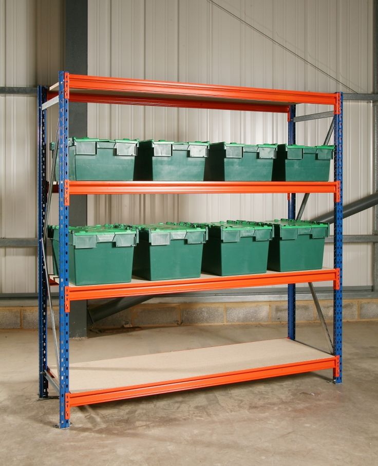 5000mm High Longspan Shelving Starter Bays may be added to with Extension Bays, to form a multiple bay run customizing the length of shelving.