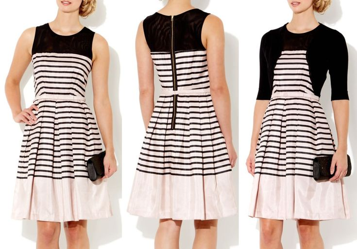 Elegant/ occasion 50′s style midi fit and flare stripe dress with mesh insert