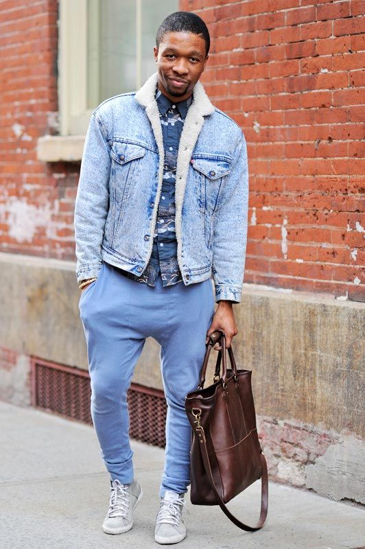 New York City by Monsieur Jerome. Brandyn (24 - PR account manager) wears Jacket by Levi's, Shirt by Topman, Pants by Topman, Bag by J. Crew, Shoes by Stampd LA