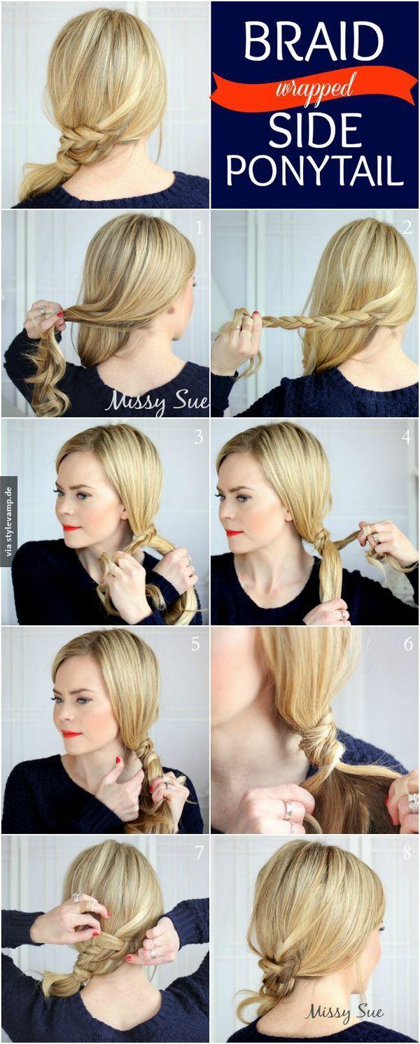 braid wrapped side ponytail beauty hair make up. Black Bedroom Furniture Sets. Home Design Ideas