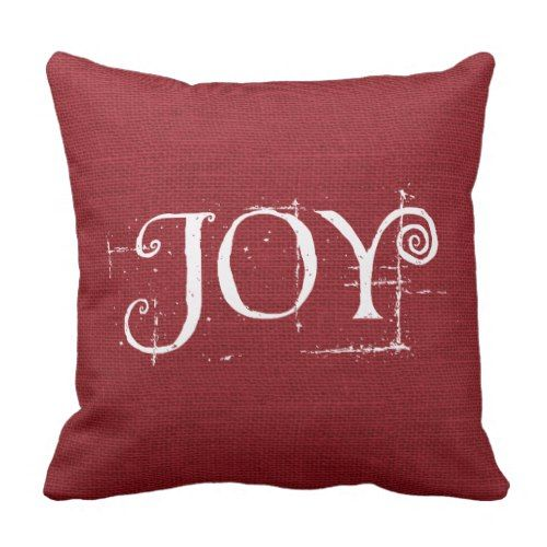 Holiday Christmas JOY Burlap Decor Throw Pillow