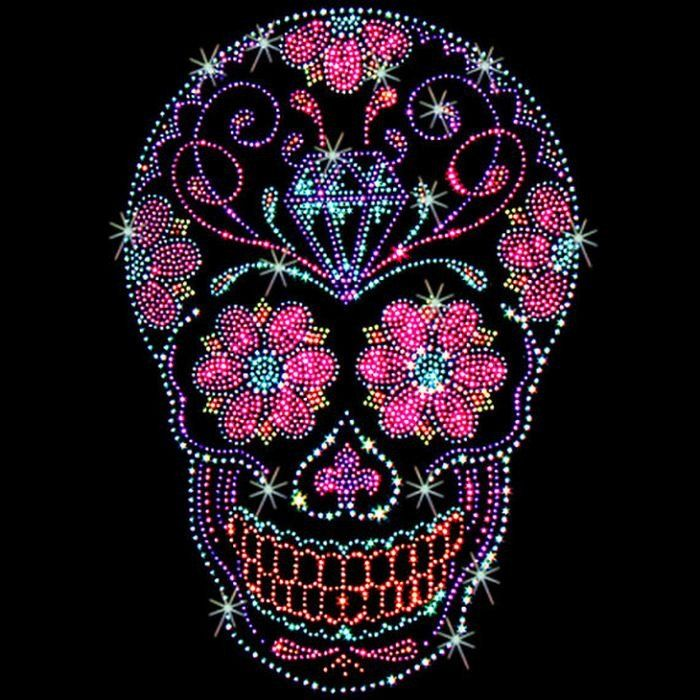 Sugar Skull with Diamond Womans LONG SLEEVE T Shirt Rhinestone Studs Day of the…