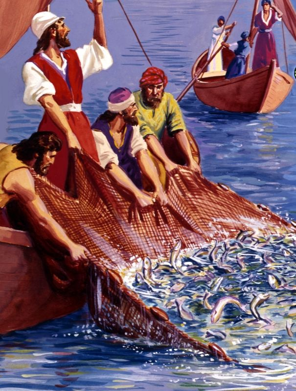 Jesus performs a miracle, helping the disciples catch many fish -- Matthew 4: 13-16; Luke 5: 1-11. Description from visualbiblealive.com. I searched for this on bing.com/images
