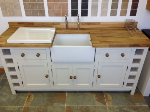 Solid Wood Belfast Butler Kitchen Sink Unit New Only 1299 Fired Earth Ivory