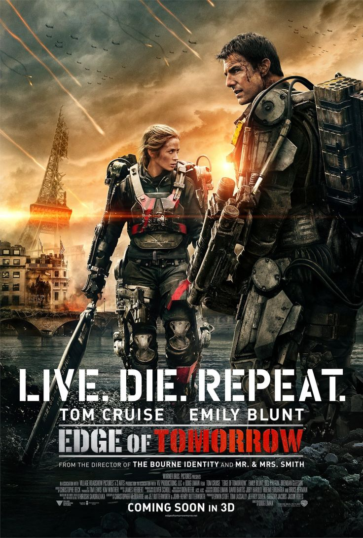 Edge of Tomorrow Language : English  Genre : Action , Sci-Fi  Duration : 1h 53mn  Size : 3.70 GB  Quality : 720p WEB-DL  Release Year : 2014  Submit By : Napster  Release NameNew : Edge.of.Tomorrow.2014.720p.WEB-DL.x264.AC3-ZIKAS.mkv  Description : An officer finds himself caught in a time loop in a war with an alien race. His skills increase as he faces the same brutal combat scenarios, and his union with a Special Forces warrior gets him closer and closer to defeating the enemy.