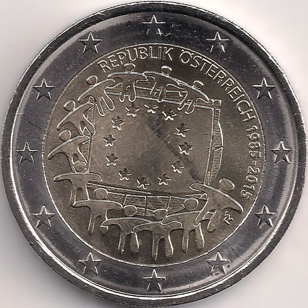 Motivseite: Münze-Europa-Mitteleuropa-Österreich-Euro-2.00-2015-EU-Flagge