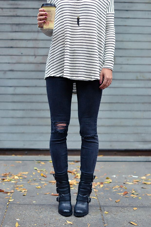 jeans  black ripped sweater  retro skinny outfit  striped    bred boots  moto jordan fall