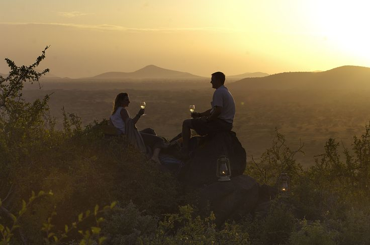 Enjoy sundowners at Joy's camp, an elegant tented camp located in the remote Shaba National Reserve in #Kenya. #Africa #Romance #proposal