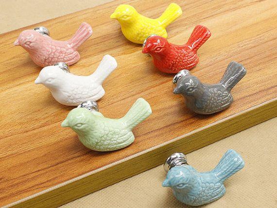 Bird Knobs Dresser Knob Drawer Pulls Handles Ceramic Kids