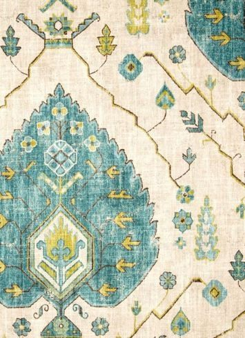 Aubusson Aegan - off-white, turquoise & chartreuse medallion ikat fabric by Richloom